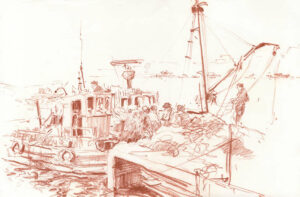 Fishing boats, Algarve, Sanguine, 32 x 46 cm