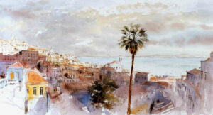 Lisbon, view from Portas do Sol, Watercolour, 30 x 54 cm