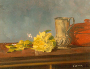 Still Life with Jar and Rose, Oil on Canvas, 30 x 40 cm