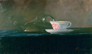 Still life of cup and teapot