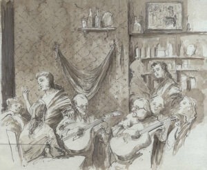 Fado, Pen and Ink and Wash, 26 x 32 cm