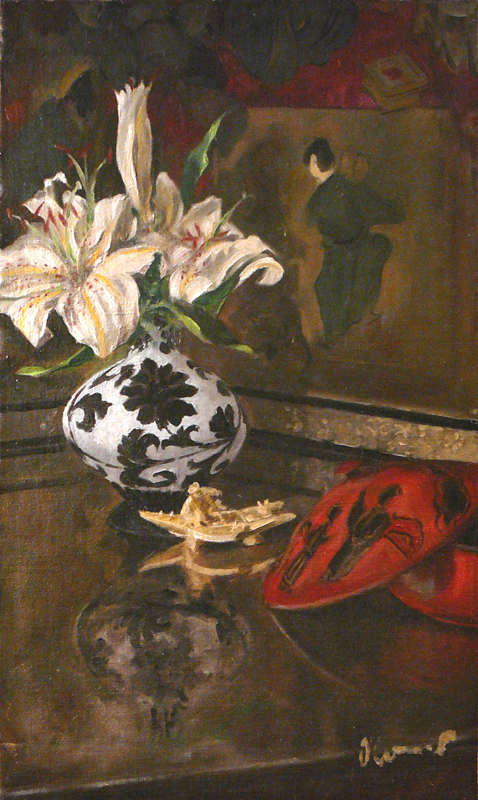 Still Life with Lilies, Oil on Canvas, 50 x 30 cm