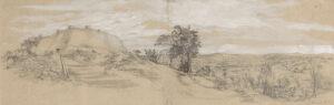 Citadel, Great Zimbabwe,Pencil and Wash, 23 x 73 cm