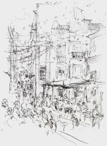 Festival in Mouraria, Lisbon, Pencil, 29 x 21 cm