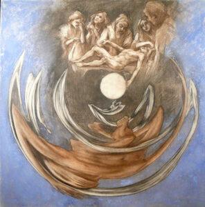 Entombment and Resurrection anamorphosis, Chalk, 75 x 74 cm