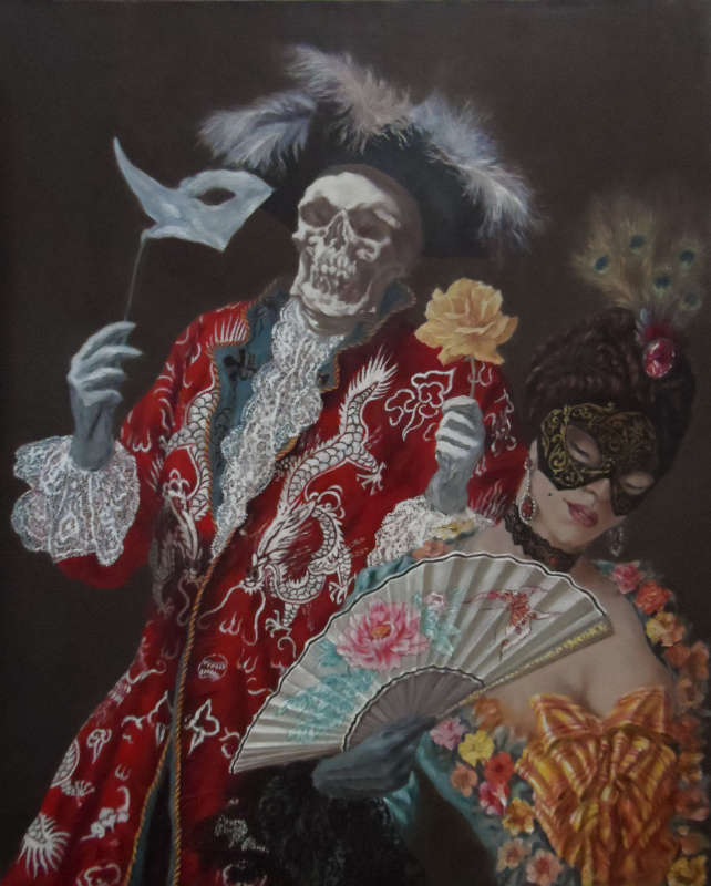 Death and the Maiden: Carnival, Oil on canvas, 80 x 65 cm