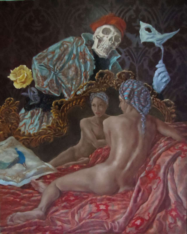 Death and the Maiden, Vanitas, Oil on canvas, 80 x 65 cm