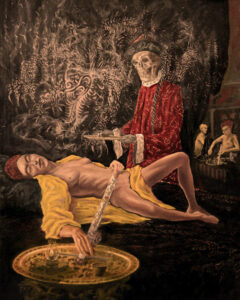 Death and the maiden: Chasing the dragon, Oil on canvas, 80 x 65 cms,